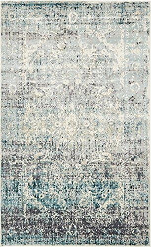 Area Rug Vintage Blue 5' x 8' FT St. John Collection Rugs - Inspired Overdyed Carpet