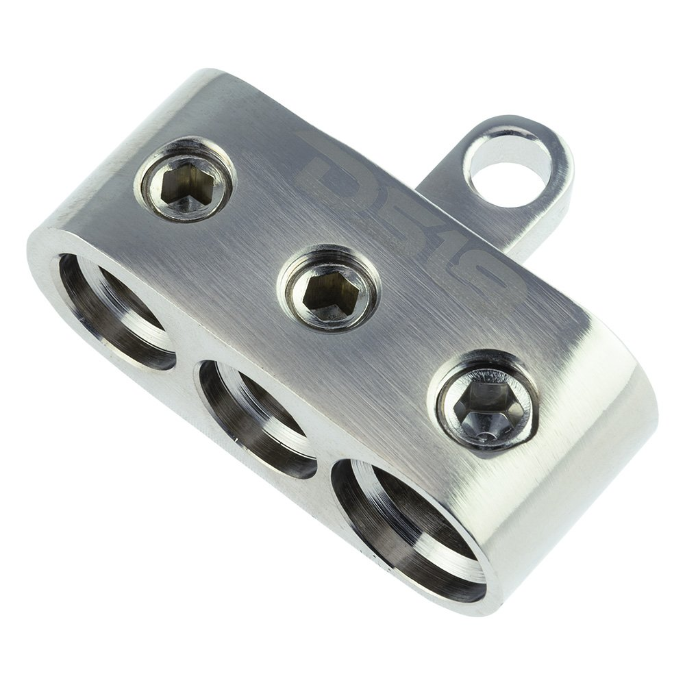 DS18 SB2-PN Positive/Negative Competition Distribution Block for Input Battery Terminal - Chrome Plated for Maximum Conductivity, Handles up to 2 x 1/0 AWG and 1 x 2/0 - Screw-Down Output Terminals