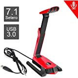 Beexcellent gm-290USB Gaming-Mikrofon mit 7.1-Stereo-Sound für Gaming/PS4/Xbox One/PC/Laptop/Handy (rot)