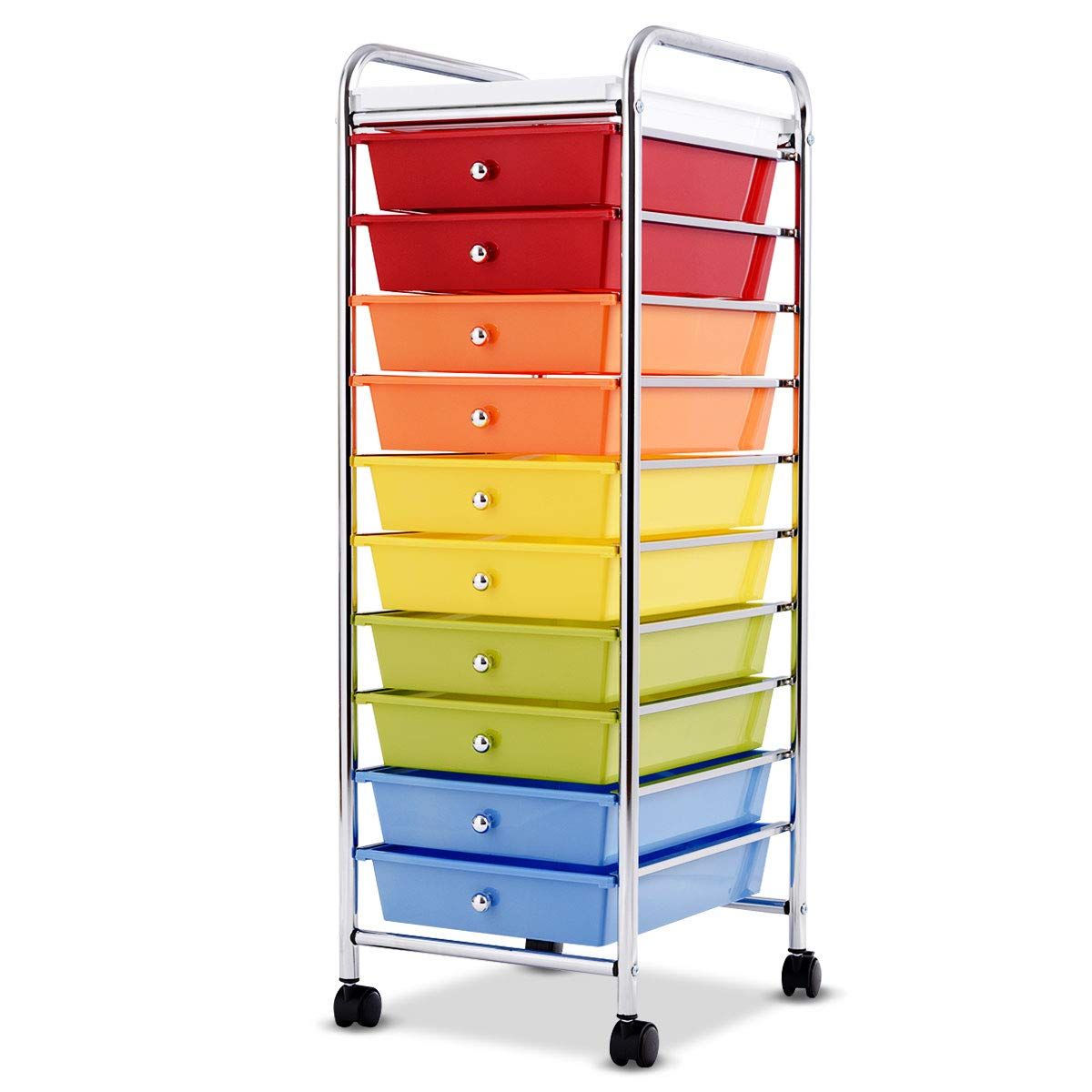 Giantex 10-Drawer Organizer Cart, Pearlescent Multi-Color Mobile Utility Trolley Cart Home Office School Scrapbook Paper Organizer Shelf w/Removable Top Tray, Multicolor Pearlized