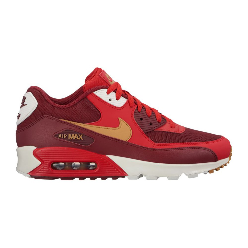 various colors a7758 7ff38 Nike Mens Air Max 90 Essential Running Shoes Game Red/Elemental Gold/Team  Red 537384-607 Size 13
