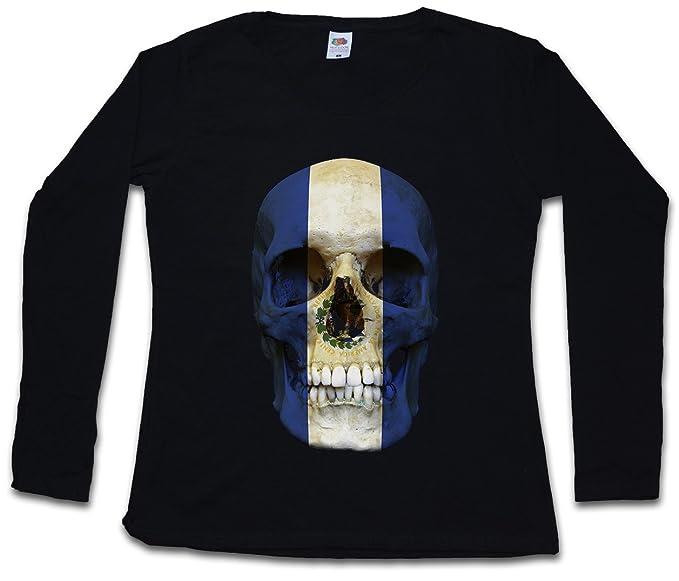 Classic EL Salvador Skull Flag Mujer Woman T-Shirt DE Manga Larga - Bandera cráneo