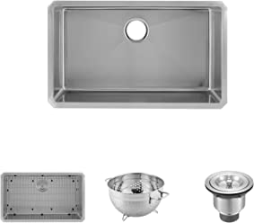 f1539ed7e4 DAX Handmade Single Bowl Undermount Kitchen Sink, 18 Gauge Stainless Steel,  Brushed Finish,