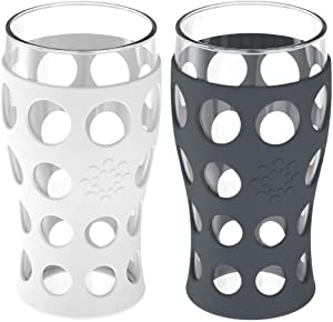 Lifefactory 20-Ounce BPA-Free Indoor/Outdoor Protective Silicone Sleeve Beverage Glass, 2-Pack, Optic White & Carbon