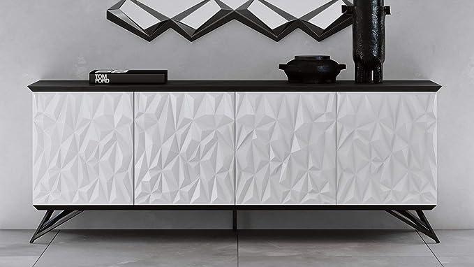 sala de estar cocina oficina TUKAILAI estanter/ía de almacenamiento para comedor Aparador moderno de color blanco brillante mate con luces LED y 2 puertas