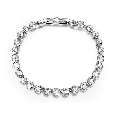 006ec1174 QIANSE Bracelets for Women Multicoloured Swarovski Crystals Tennis Bracelet  for Women Girls Jewelry for Birthday Anniversary