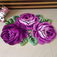yazi 3 Roses Shaped Rug Handmde Rug Bathroom Mat Modern Carpet Purple Rose Rug Non-Slip Floor Mat Small 31.5x23.6
