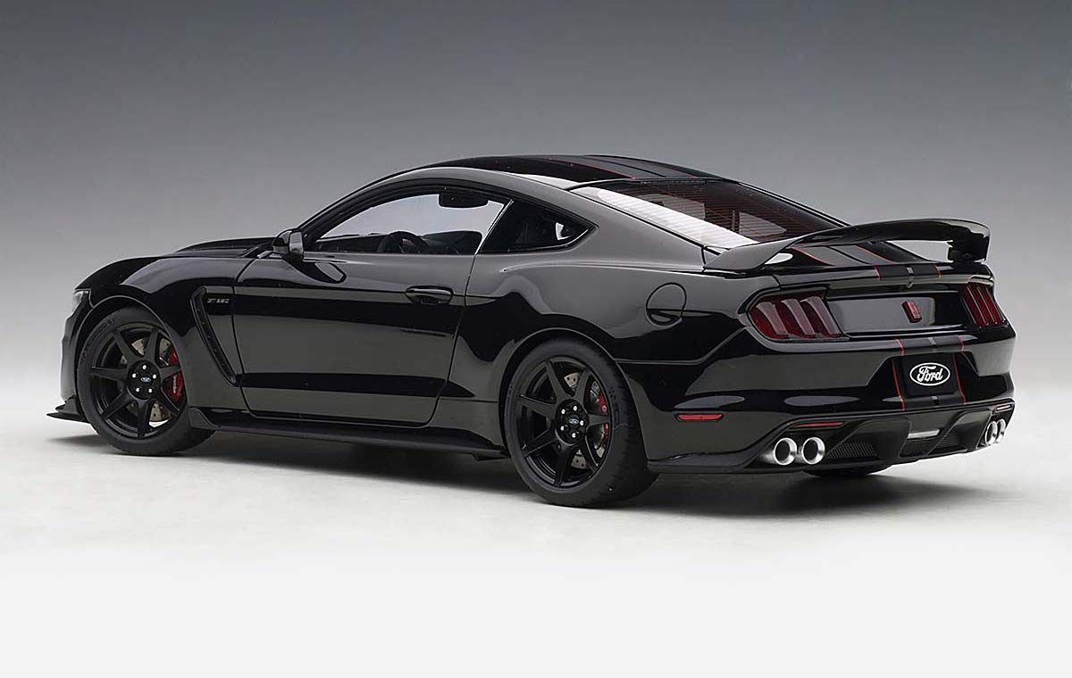 Ford Mustang Shelby GT-350R Shadow Black with Black Stripes 1/18 Model Car by Autoart 72934 by AUTOart (Image #5)