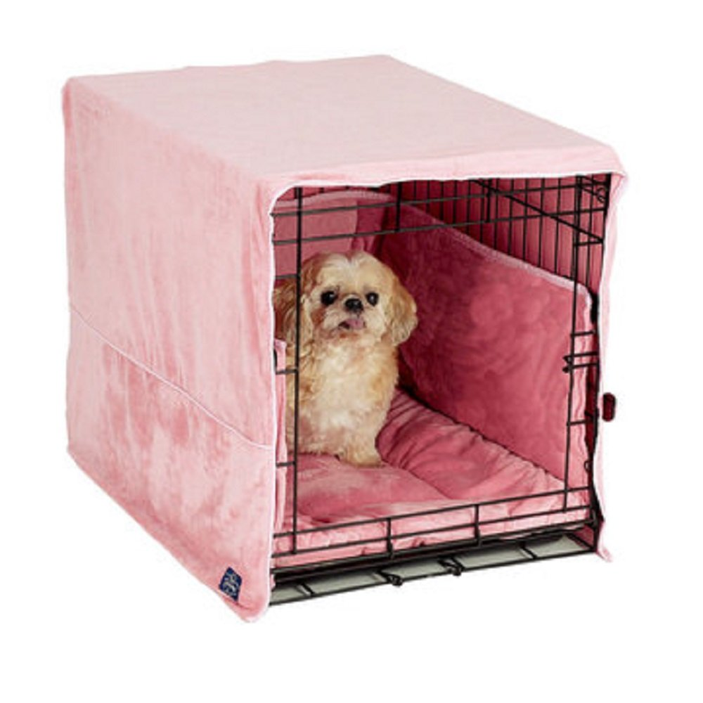 New Double Door 3 Piece Crate Bedding Set. THE ORIGINAL CRATE COVER, CRATE PAD AND BUMPER JUST GOT BETTER! Small Fits 24'' Midwest Crate - Dusty Pink by Pet Dreams