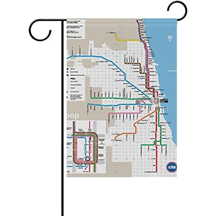 Subway Map Chicao.Amazon Com Starboston Classic Chicago Subway Map Garden Flag