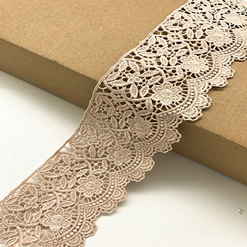 6CM Width Europe Flower Pattern Inelastic Embroidery Trims,Curtain Tablecloth Slipcover Bridal DIY Clothing/Accessories.(4 Yards in one - Flowers Pink Trim Gold