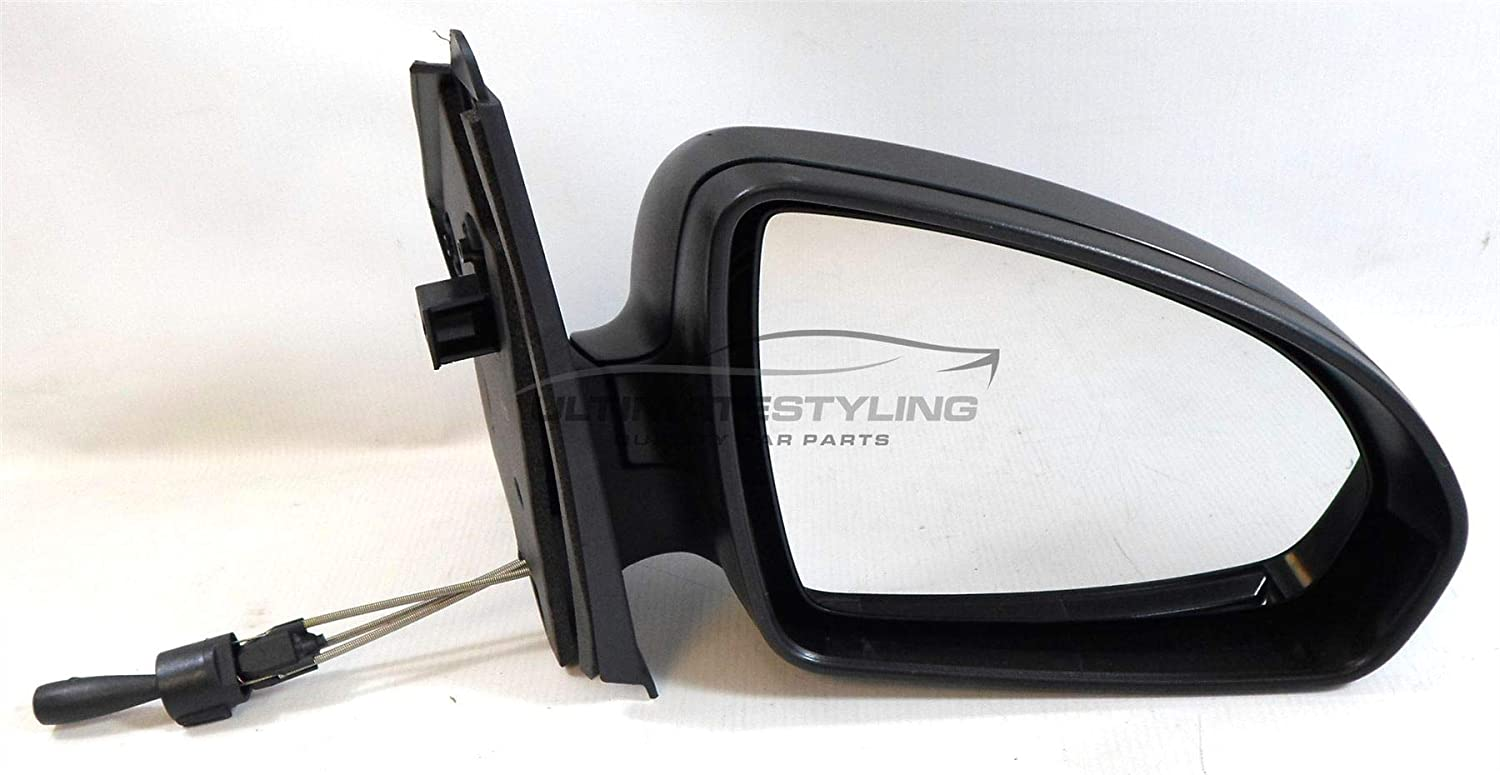 Ultimate Styling Replacement Cable None Power Folding Wing Door Mirror With Non-Heated Glass With Black Mirror Cover Cap Side Of Product Drivers Side (RH) Ultimate-Styling