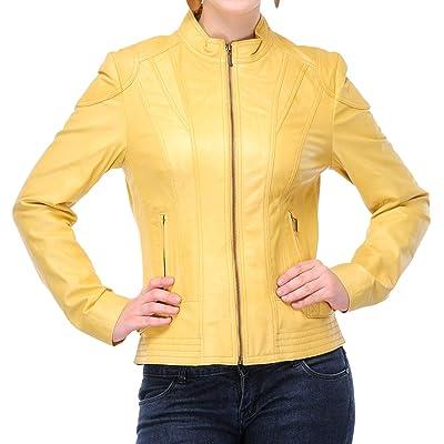 KAINAT Women's Lambskin Leather Craft Bomber Biker Jacket 189 at Women's Coats Shop