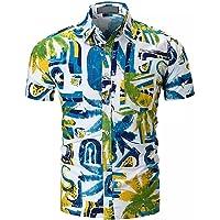 EElabper Camisa de playa para hombre, camisa hawaiana, informal, para parejas
