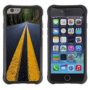 ZAAAZ Rugged Armor Slim Protection Case Cover Durable Shell - Yellow Lines Road Close Up Tarmac - Apple Iphone 6