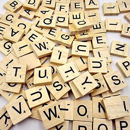 XSWY 100 Piezas de Madera del Alfabeto Scrabble Azulejos Negros Letras y números for Puzzle artesanía de Madera Digital: Amazon.es: Hogar