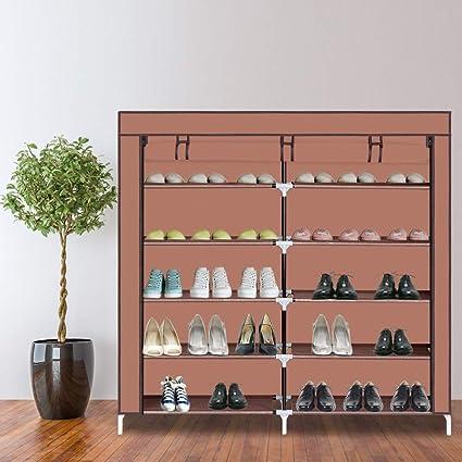 "44/"" Double Row Portable Shoe Rack Closet Fabric Cover Storage Organizer Cabinet"