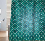 Sunlit Designer Mermaid Tail Scale Geometric Shower Curtain Set PVC Free, Non-toxic and Odorless Water Repellent Fabric. Fairy Tales Ocean Theme Turquoise Bathroom Décor. (Mermaid Turquoise)