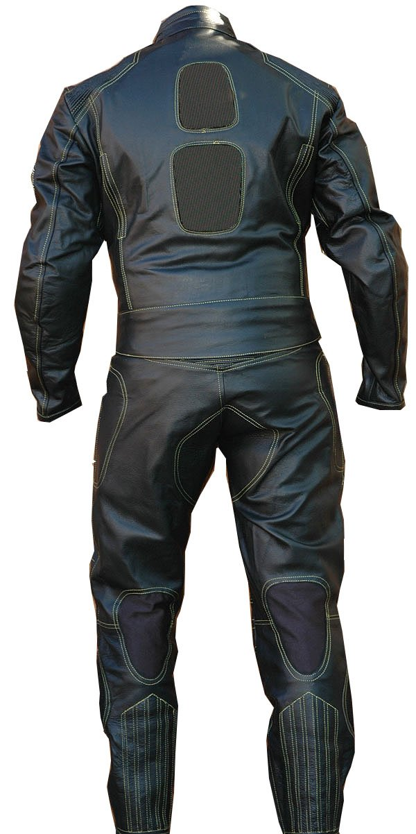 Perrini 2pc Motorcycle Riding Racing Leather Track Suit w/Padding & Armor New Black by PERRINI (Image #2)