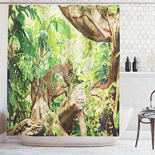 (Ambesonne Safari Decor Shower Curtain Set, Leopard on The Branch in Savanna Exotic Macro Tropical Leaf Jungle Wild Nature Art Photo, Bathroom Accessories, 84 Inches Extralong,)