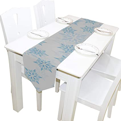 Table Cover Winter Snow White Snowfall Snowflake Modern Table Runner Decorative Table Cloths for Kitchen Dining  sc 1 st  Amazon.com & Amazon.com: Table Cover Winter Snow White Snowfall Snowflake Modern ...