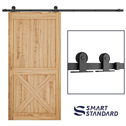 Smartstandard Top Mount Sliding Barn Hardware Kit Black 8ft Single Rail Super Smoothly And Quietly Simple And Easy To Install Fit 42 48 Wide