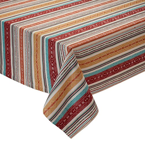 Design Imports Southwest Table Linens, 52-Inch by 52-Inch Square Tablecloth, Mesa Stripe Jacquard