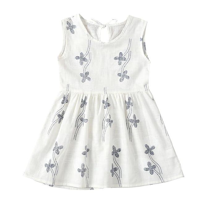 69692ec88 Vestido para niña Puntos Floral Imprimir Vestido de Bowknot Princesa  Vestido para Bautizo Bebé Niñas sin Mangas Verano Lonshell: Amazon.es: Ropa  y ...