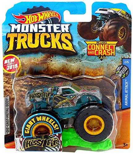2019 Hot Wheels Hissy Fit Giant Wheels Monster Trucks Die-Cast Metal Body with Connect and Crash Car 1:64 Scale