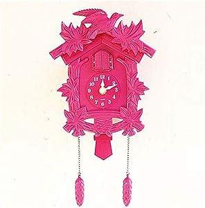 RUNEEE Cuckoo Clock Living Room Wall Clock Bird Cuckoo Alarm Clock Watch Modern Brief Unicorn Decorations Home Day Time Alarm Decor (Color : Pink)