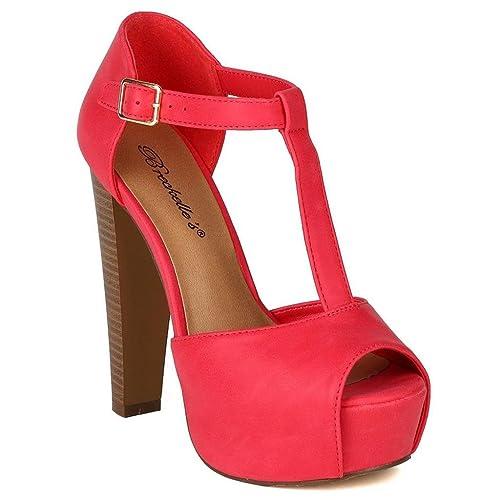 bb0fb25774d Breckelle's Women's Brina Peep Toe High Heel T-Strap Platform Sandals