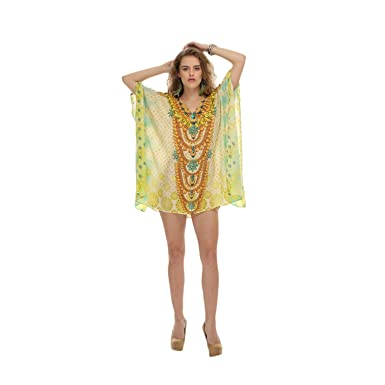 4422c55838a1d D G PRINTS FAB Women's Turkish Kaftan Beach wear Swimwear Bikini Cover ups  Beach Dress at Amazon Women's Clothing store: