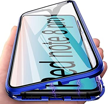 Funda Redmi Note 8 Pro, Adsorción Magnética Carcasa 360 Grados Protección Caso Anti Choque Metal Flip Cover, E-Lush Funda Transparente Vidrio Templado Case Cover para Xiaomi Redmi Note 8 Pro, Azul: Amazon.es: