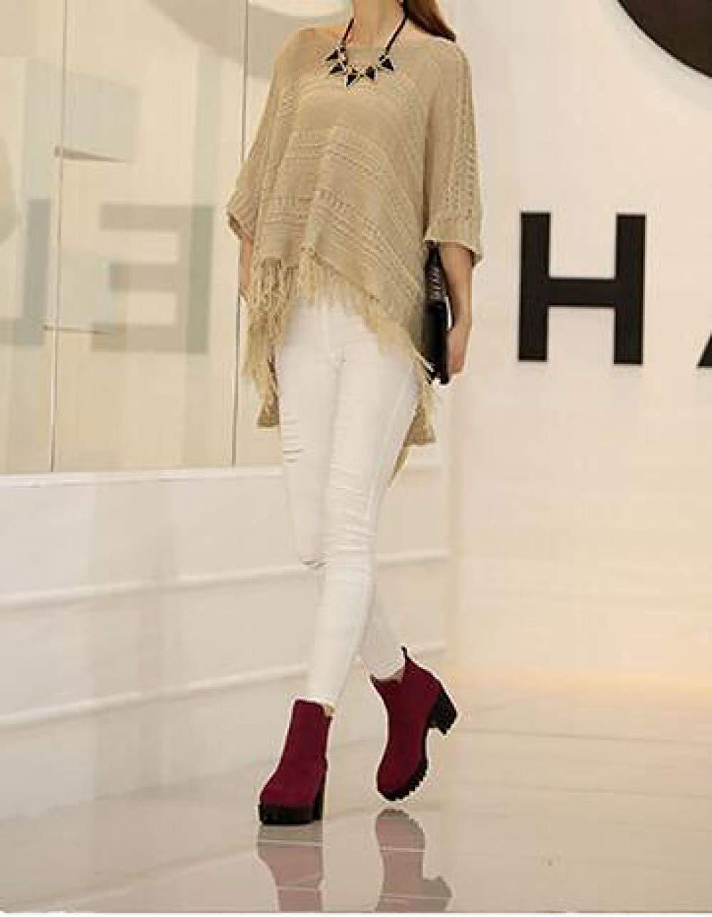 Oudan Weibliche Herbst Und Winter Mattleder High High High Heels Stiefeletten Baumwolle Schuhe (Farbe   C, Größe   34)  4411eb
