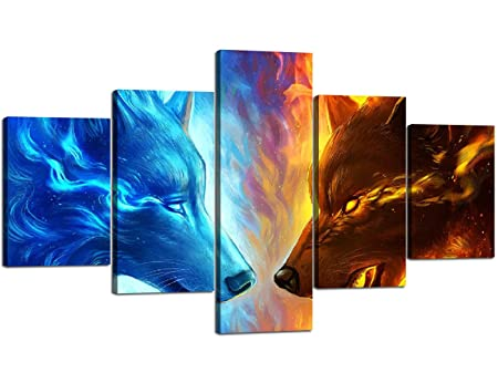 Yatsen Bridge Wolf Wall Art Modern Canvas Blue Ice and Red Fire The Two Wolves Animal Printed Painting Print Art Home Decor for Living Room Bedroom Framed Ready to Hang 70 Wx40 H