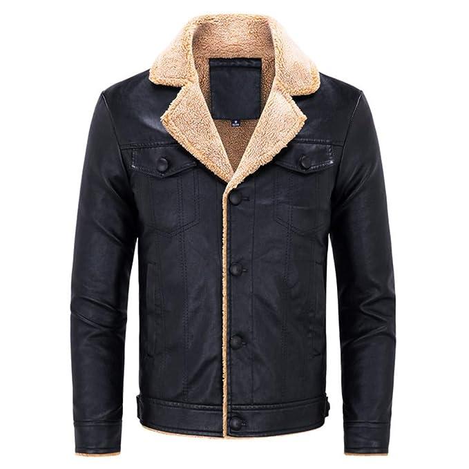 Clearance Sale for Men Coat.AIMTOPPY Fashion Mens Warm Jacket Long Sleeve Plus Velvet Leather Jacket