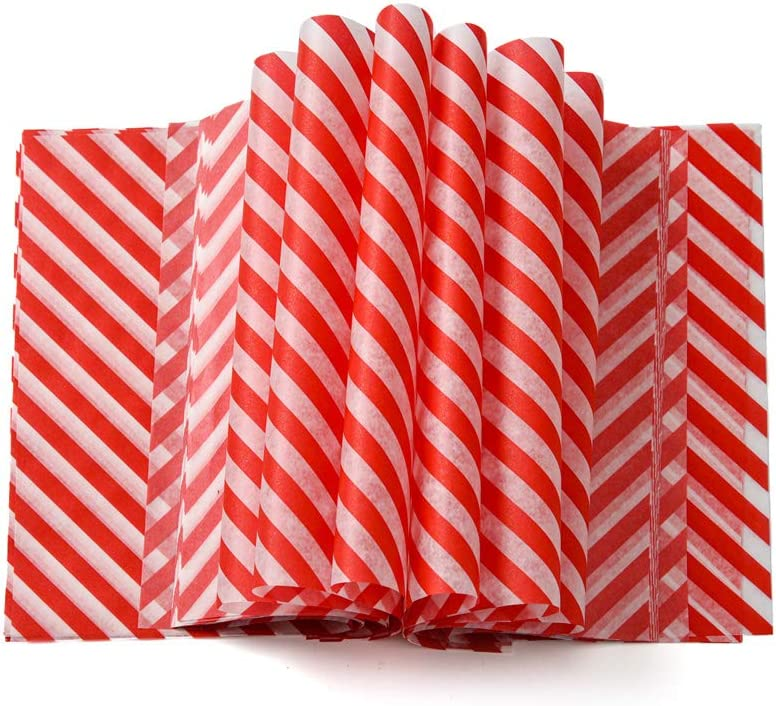 50 Pack Candy Wrapping Paper Gift Wrap Grease Proof Wax Paper Red Strips