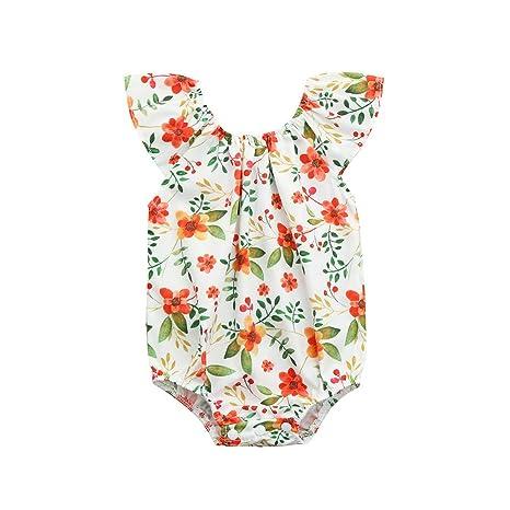 Feixiang Ropa de bebé recién Nacida Ropa sin Mangas Impreso Mono Estampado Floral Triángulo Medias Liebre