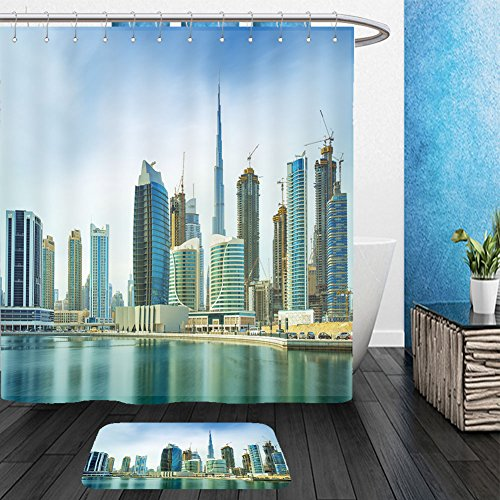 Frozen Costumes Dubai (Vanfan Bathroom 2 Suits 1 Shower Curtains &  1 Floor Mats panorama of modern skyscrapers in the center of luxury dubai city dubai united arab emirates 399672460 From Bath room)