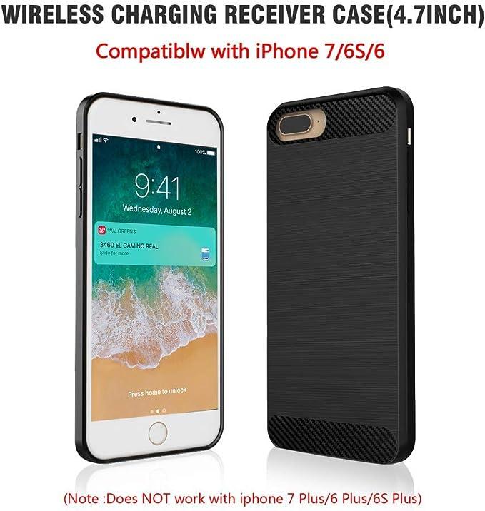 ANGELIOX Cargador inalámbrico yestuche de Carga inalámbrica Qi para iPhone 6 6s 7 Plus, Tipo C 7.5W Estación de Carga inalámbrica de Carga rápida