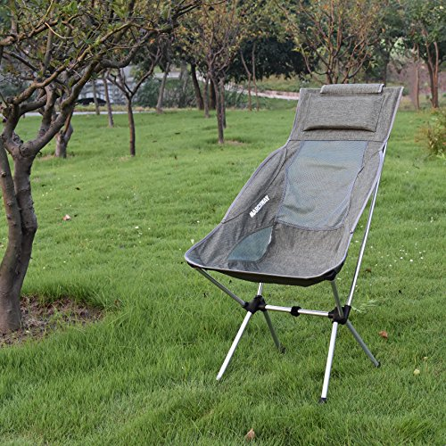 Hiking Travel Festival Picnic Portable Compact for Outdoor Camp Backpacking MARCHWAY Lightweight Folding High Back Camping Chair with Headrest