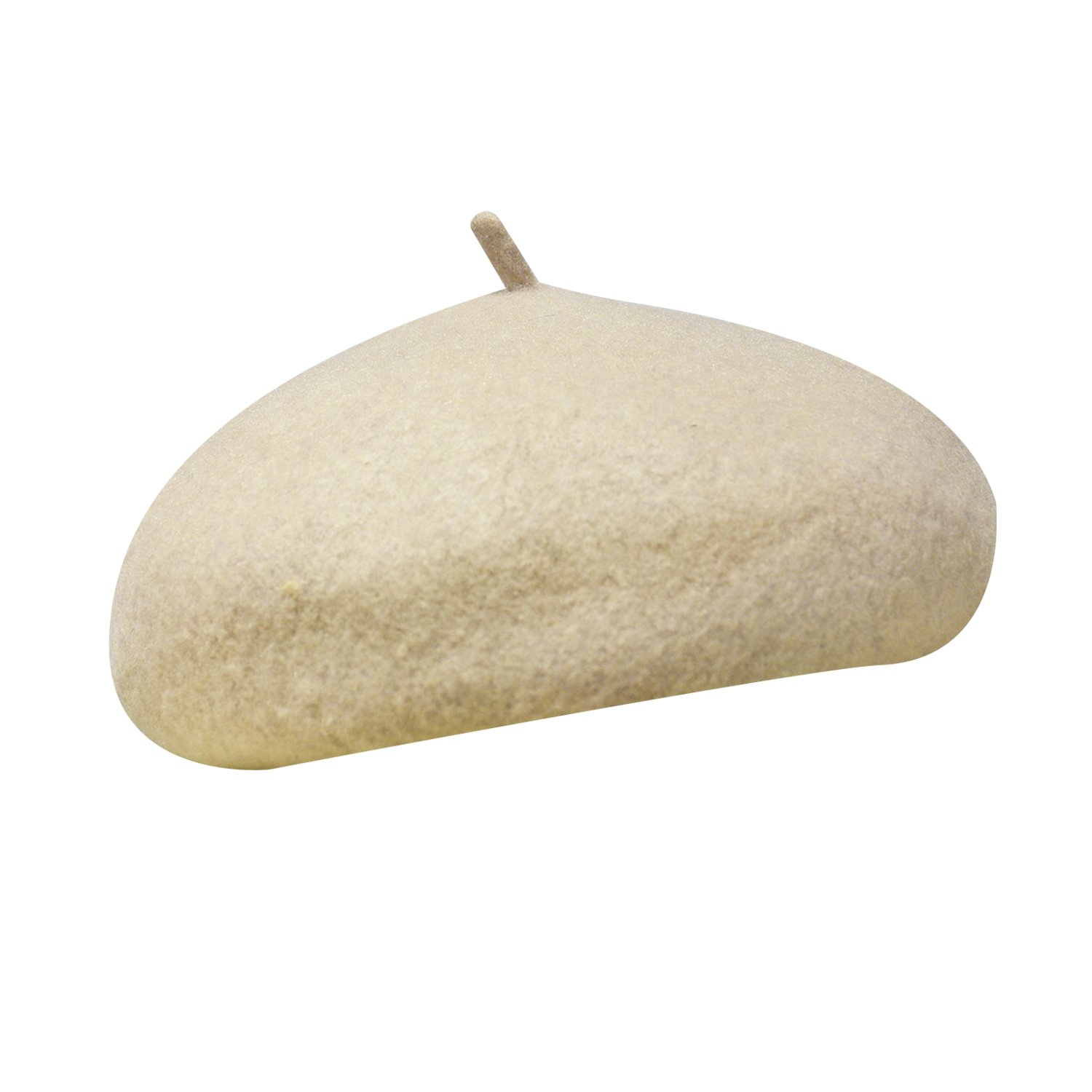 Luxspire Women's Solid Color Casual Classic Soft Woolen French Style Beret Cap Winter Warm Hat, Beige