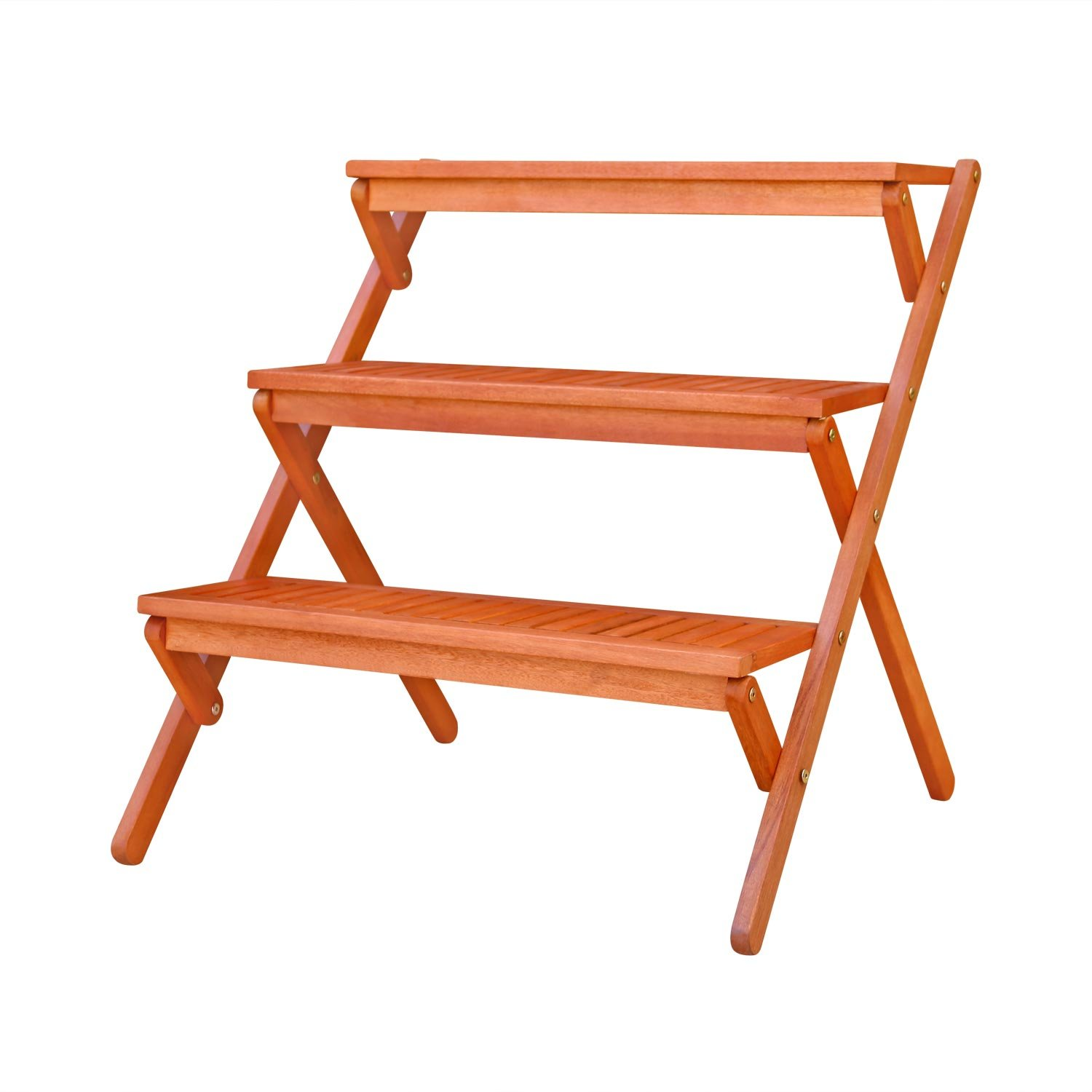 Amazon.com : VIFAH V499 Outdoor Wood Three-Layer Plant Stand ...