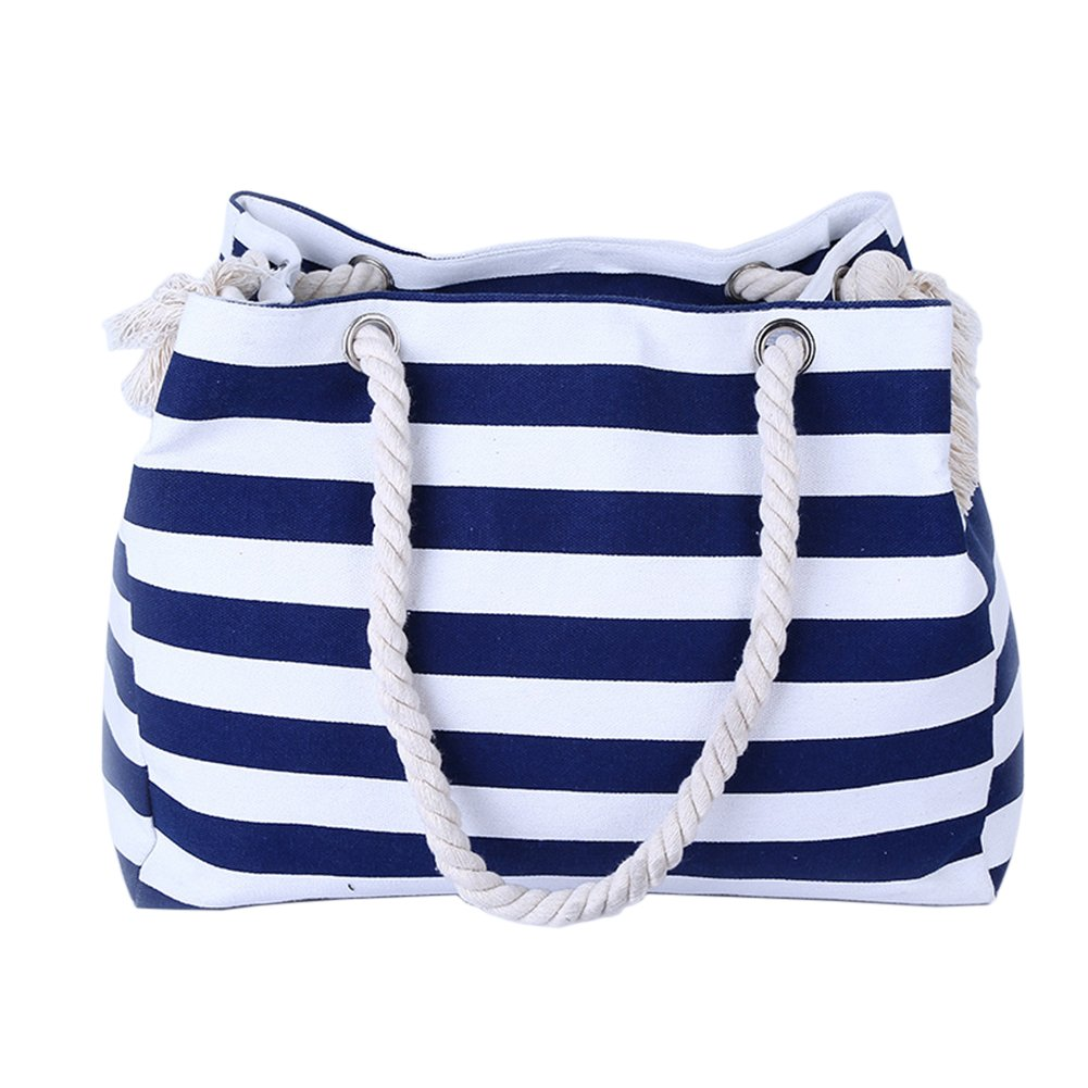 THEE Beach Bag with Inner Zipper Pocket Tote with Rope Handles ZFFPBB22bk
