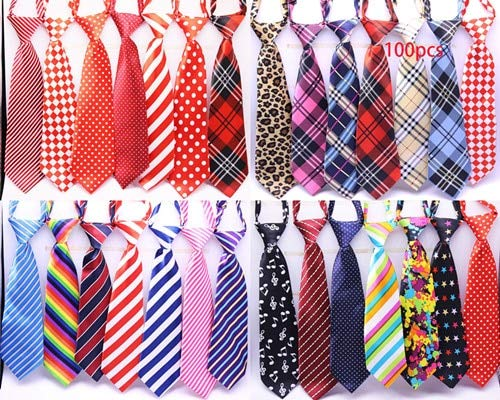 FairOnly Wholesale Large Dog Neckties 50/80/100pcs/lot Mix 30color Large Size Dog Tie Neck Adjustable Large Dog Ties Grooming Ties Mic Colour