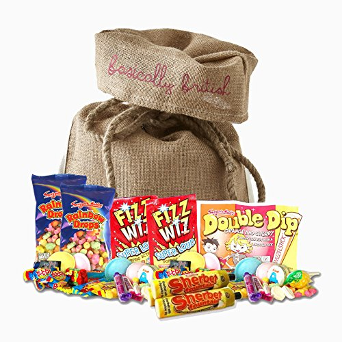 British Retro Nostalgic 100 Pieces Candy Assortment in Basically British Burlap Bag - Fizz Wizz, Maoam Stripes, Haribo, Rainbow Drops and More!