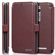 Vena Asus ZenFone 2 Case [vFolio] Vintage Flip Genuine Leather Wallet Stand Case Cover [Card Pockets] for Asus ZenFone 2 (5.5-inch) (Brown/Black)