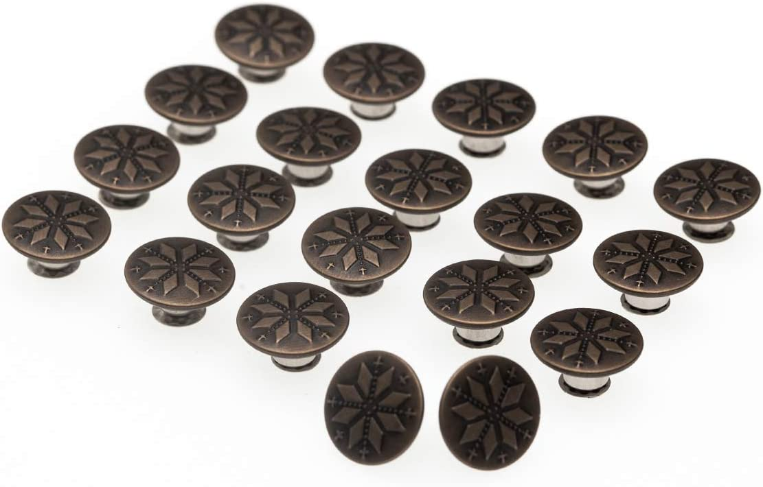 20 Sets 17mm Replacement Jeans Buttons Metal Button Snap Buttons Replacement Kit Suspender Buttons with Rivets