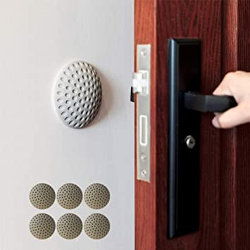 Grey 4 Wall Protector Self Adhesive Rubber Stop Door Handle Bumper Guard Stopper