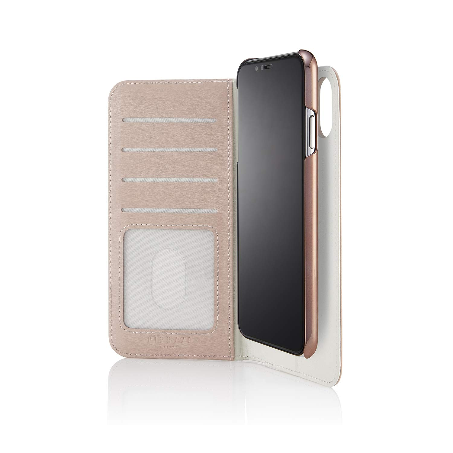 PIPETTO iPhone Xs Max 2-in-1 Leather Magnetic Folio Case - Dusty Pink